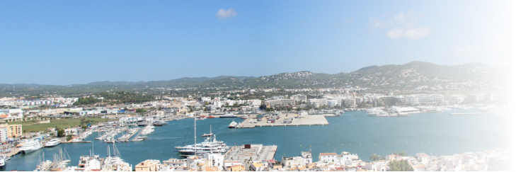 View from Dalt Vila to Marina Botafoch Ibiza Oldtown